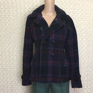 American Eagle Outfitters Wool Plaid Pea Coat Sz L